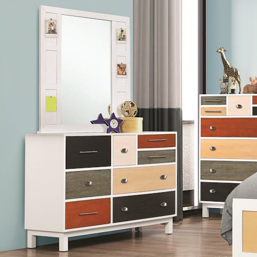 Coaster Lemoore Multi-Color Eight Drawer Dresser and Mirror Set
