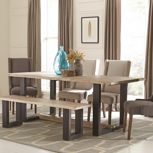 Coaster levine contemporary dining table with u shaped for U shaped dining room table