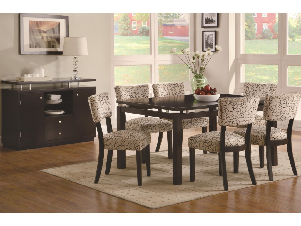 Shown with Floating Dining Table & Upholstered Side Chairs