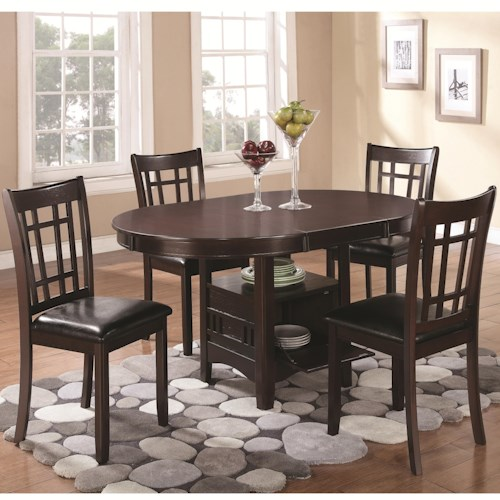 Coaster Lavon 5 Piece Dining Set with Storage Table