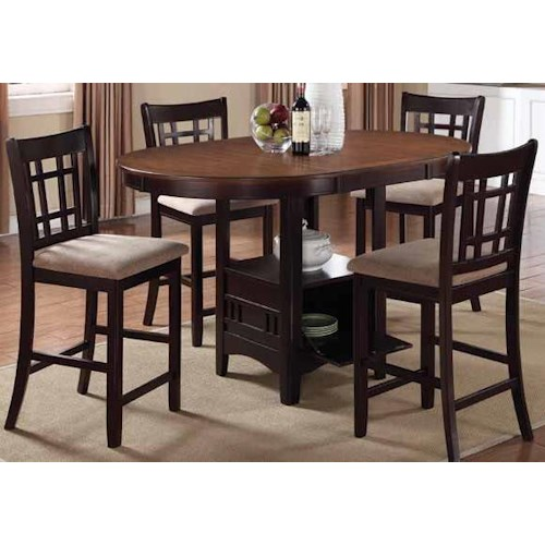 Coaster Lavon Casual 5 Piece Counter Height Table Set