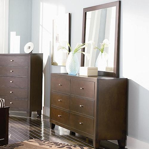 Coaster Lorretta Contemporary 6 Drawer Dresser with Mirror