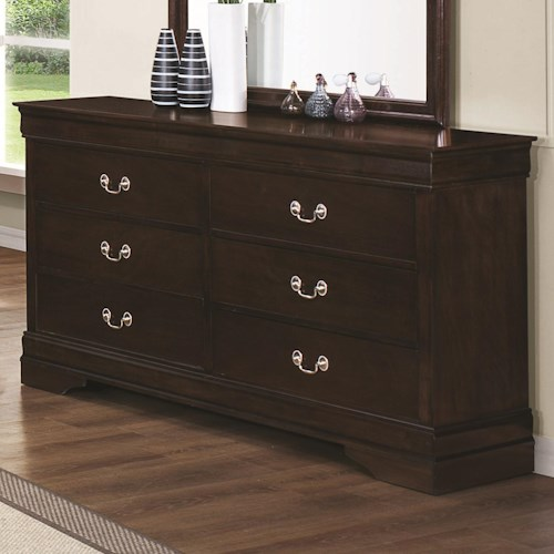 Coaster Louis Philippe 202 6 Drawer Dresser with Silver Bails