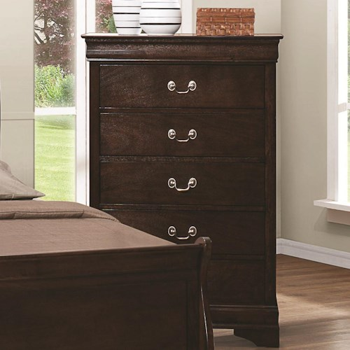 Coaster Louis Philippe 202 5 Drawer Chest with Silver Bails