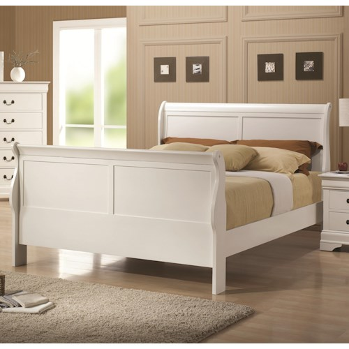 Coaster Louis Philippe 204 White Finish Queen Sleigh Style Bed