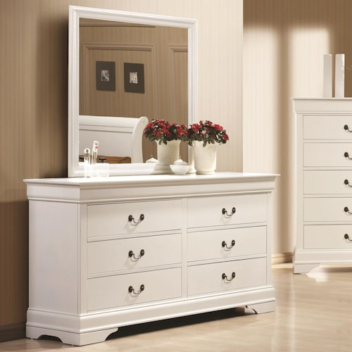 Coaster Louis Philippe 204 6 Drawer Dresser and Mirror