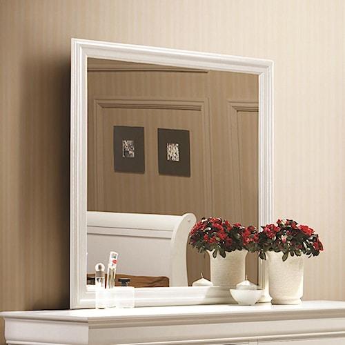 Coaster Louis Philippe 204 White Beveled Edge Square Mirror