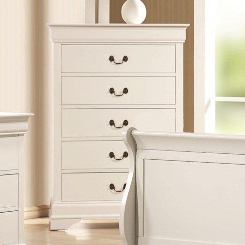 Coaster Louis Philippe 204 White 5 Drawer Chest