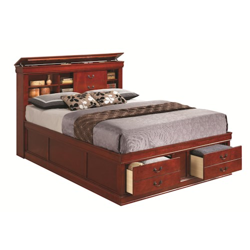 Coaster Louis Philippe King Bed with Storage in Headboard and Footboard