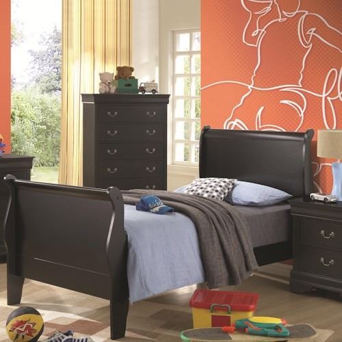 Coaster Louis Philippe Twin Sleigh Panel Bed