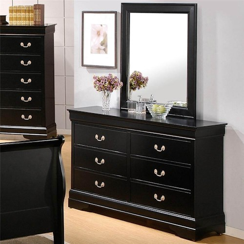 Coaster Louis Philippe 6 Drawer Dresser and Mirror Combination