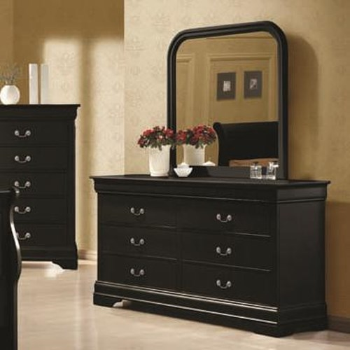 Coaster Louis Philippe 6 Drawer Dresser and Vertical Mirror Combination