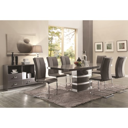 Coaster Lowry Contemporary Table and Chair Set with High-Gloss Finish