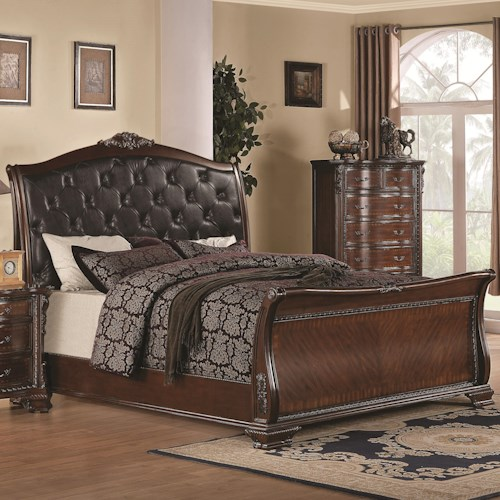 Coaster Maddison California King Bed with Upholstered Headboard