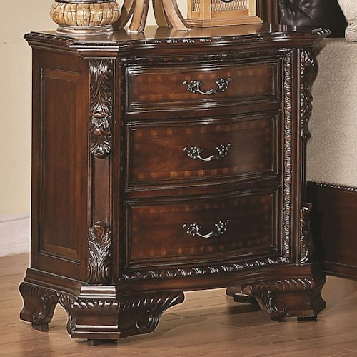 Coaster Maddison Nightstand with Carved Wood Detailing