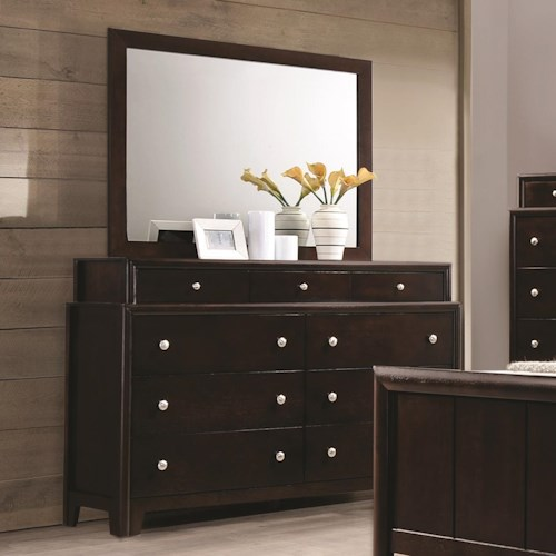 Coaster Madison Dresser with Nine Dovetail Drawers and Mirror with Wood Frame