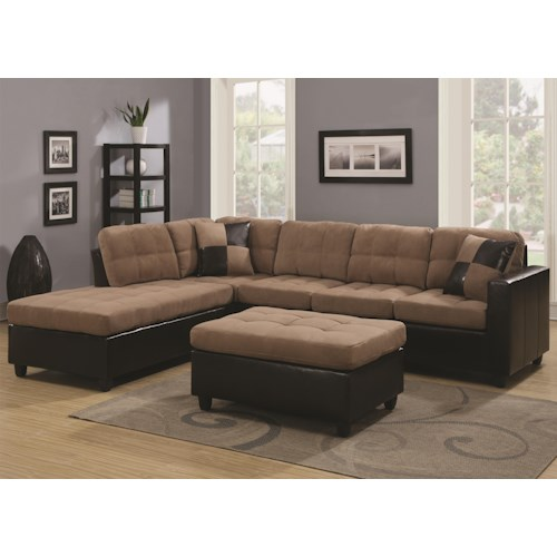 Coaster Mallory Reversible Sectional with Casual and Contemporary Style
