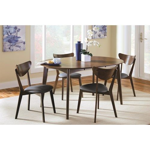 Coaster Malone Mid-century Modern 5-Piece Solid Wood Dining Set