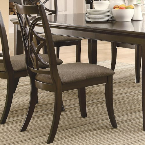 Coaster Meredith Dining Side Chair w/ Fabric Cushion Seating