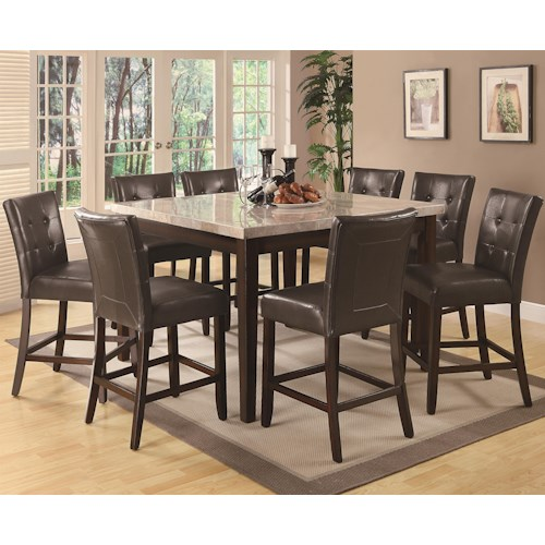 Coaster Milton 9 Piece Counter Height Table and Stool Set