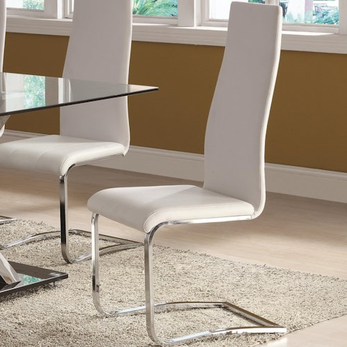 Coaster Modern Dining White Faux Leather Dining Chair with Chrome Legs