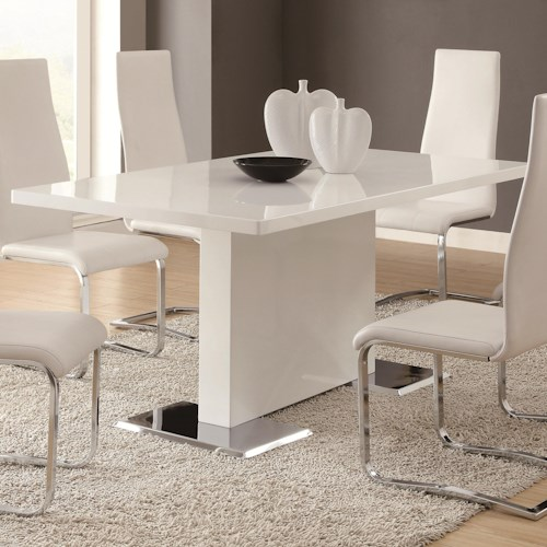 Coaster Modern Dining White Dining Table with Chrome Metal Base