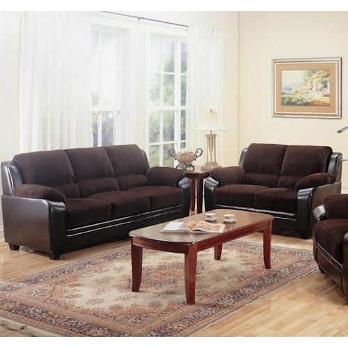 Coaster Monika 2 Piece Stationary Loveseat and Sofa Group