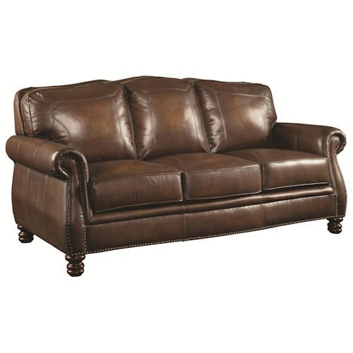 Coaster Montbrook Traditional Sofa with Rolled Arms and Nail head Trim