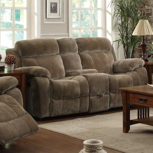 Coaster Myleene Double Gliding Loveseat  w/ Cup Holders