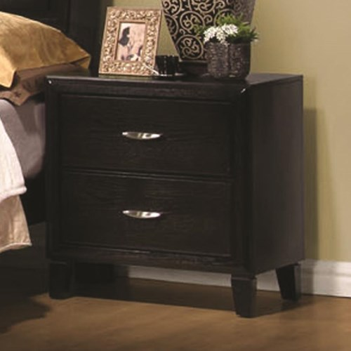 Coaster Nacey Two Drawer Nightstand with Metal Hardware