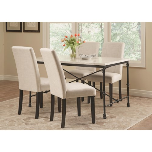 Coaster Nagel 5 Piece Industrial Table Set with Fabric Side Chairs
