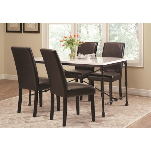 Coaster Nagel 5 Piece Industrial Table Set with Leatherette Side Chairs