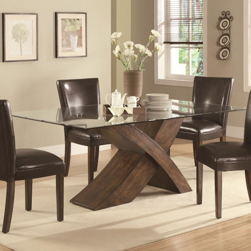 Coaster Nessa Large Scaled X Base Dining Table with Glass Top