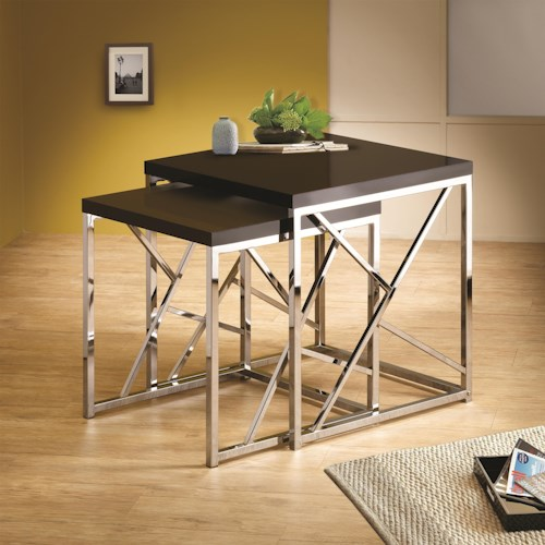 Coaster Nesting Tables 2 Piece Nesting Table with Gloss Black Table Tops