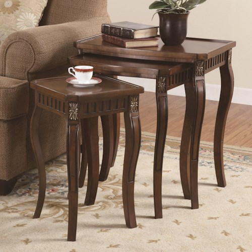 Coaster Nesting Tables 3 Piece Curved Leg Nesting Tables