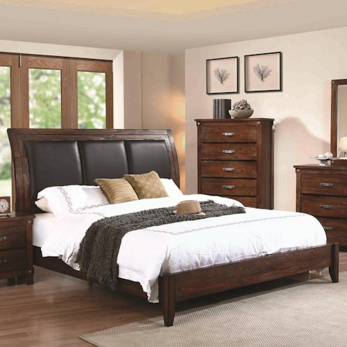 Coaster Noble Queen Panel Bed with Upholstered Headboard