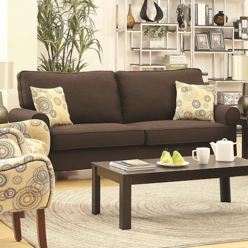 Coaster Noella Casual Stationary Sofa with Loose Pillow Back and Loose Seat Cushions