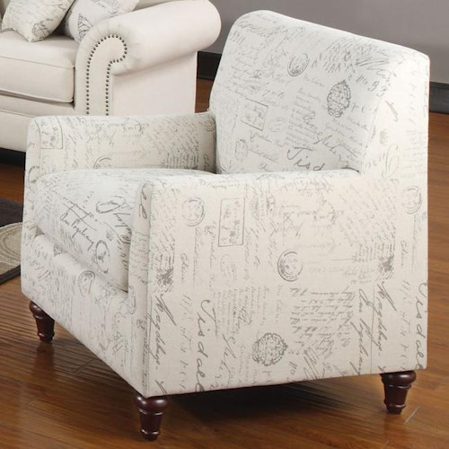 Coaster Norah Accent Arm Chair with French Script Pattern