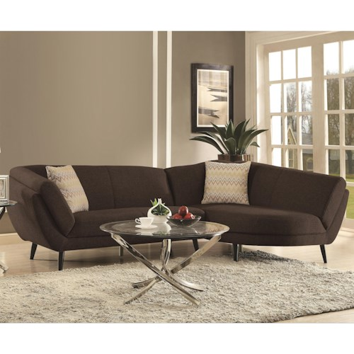 Coaster Norwood Mid Century Modern Two Piece Sectional Sofa