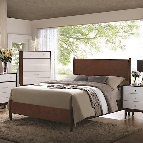 Coaster Oakwood Mid-Century Modern King Panel Bed