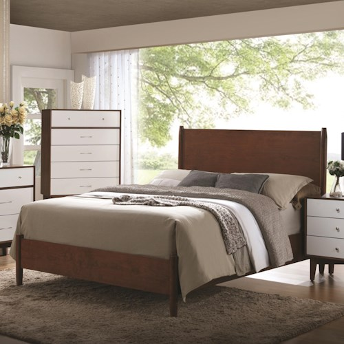 Coaster Oakwood Mid-Century Modern Queen Panel Bed
