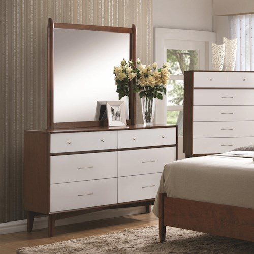 Coaster Oakwood 6 Drawer Dresser and Mirror Set