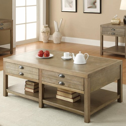 Coaster Occasional Group Cottage Coffee Table with Two Drawers