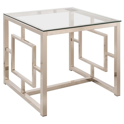 Coaster Occasional Group Contemporary Metal End Table with Glass Top & Geometric Motif