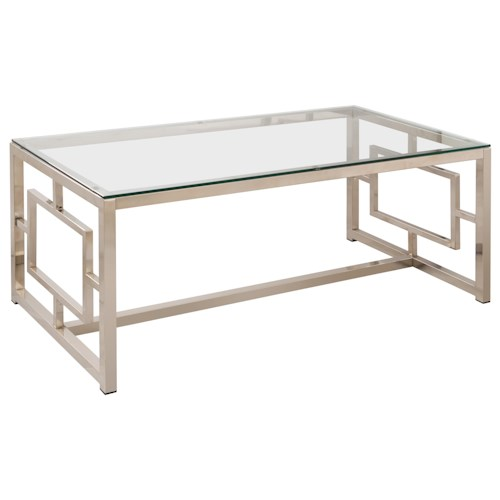 Coaster Occasional Group Contemporary Metal Coffee Table with Glass Table Top & Geometric Motif