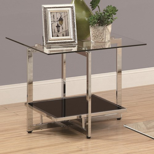 Coaster Occasional Group Chrome End Table with Clear Glass Top and Black Glass Bottom Shelf