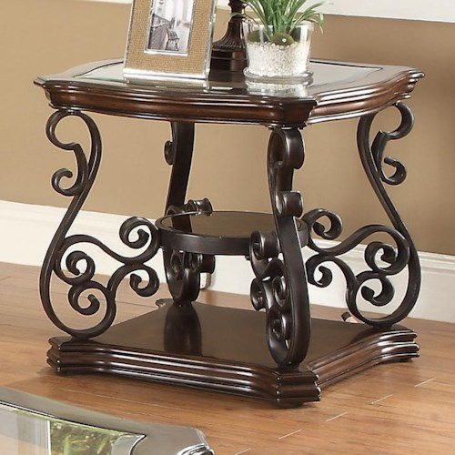 Coaster Occasional Group End Table with Tempered Glass Top & Ornate Metal Scrollwork