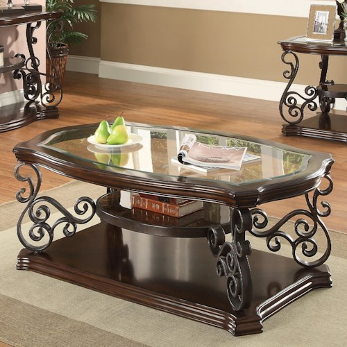 Coaster Occasional Group Traditional Coffee Table with Tempered Glass Top & Ornate Metal Scrollwork