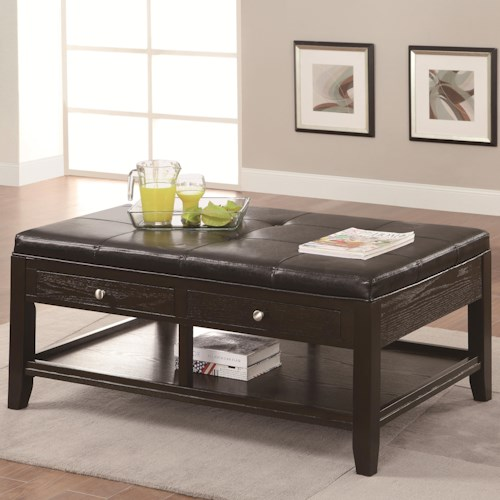 Coaster Occasional Group Coffee Table with 2 Drawers and Upholstered Top