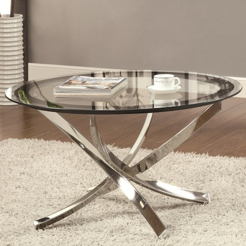 Coaster Occasional Group 702580 Cocktail Table w/ Tempered Glass Top